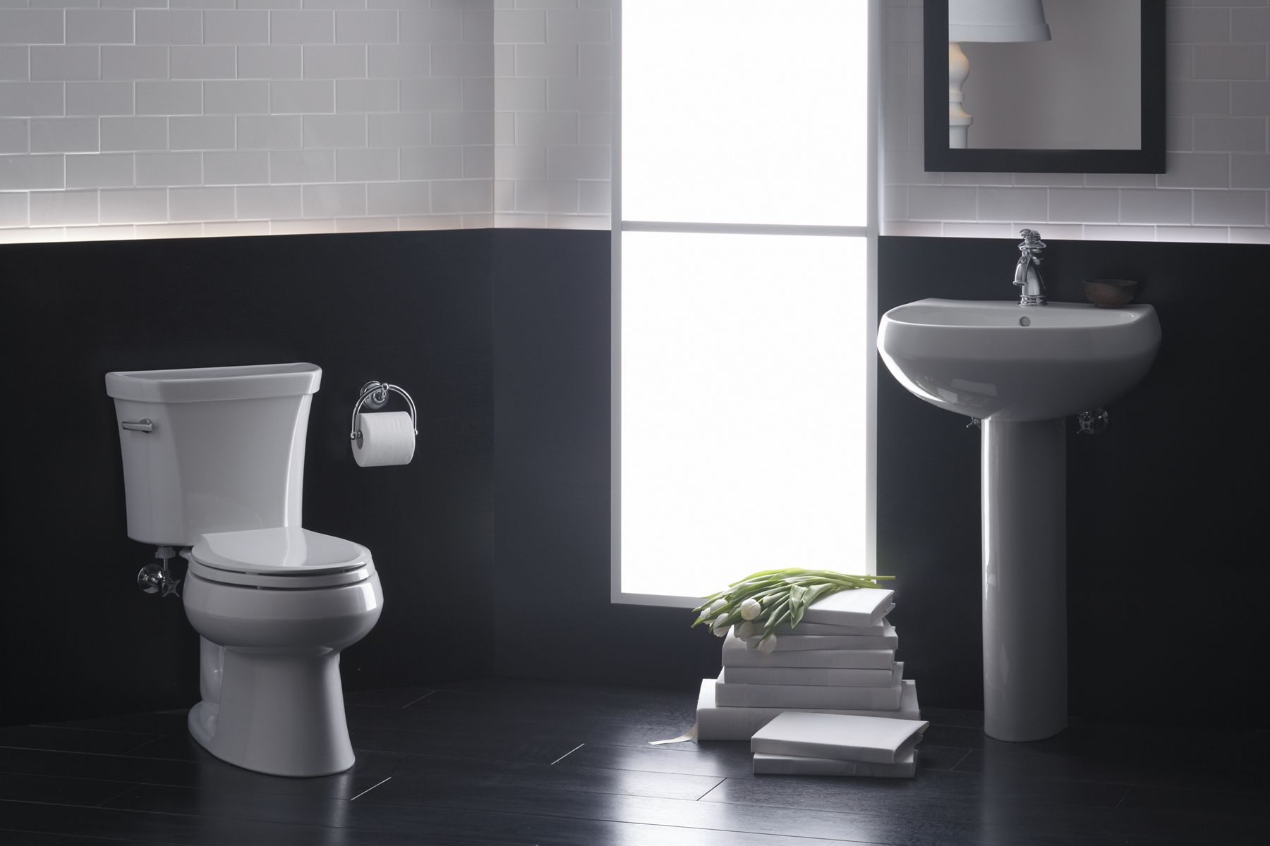 a perfect match the popular wellworth pedestal sink and toilet combine great performance with iconic streamlined style their simple look