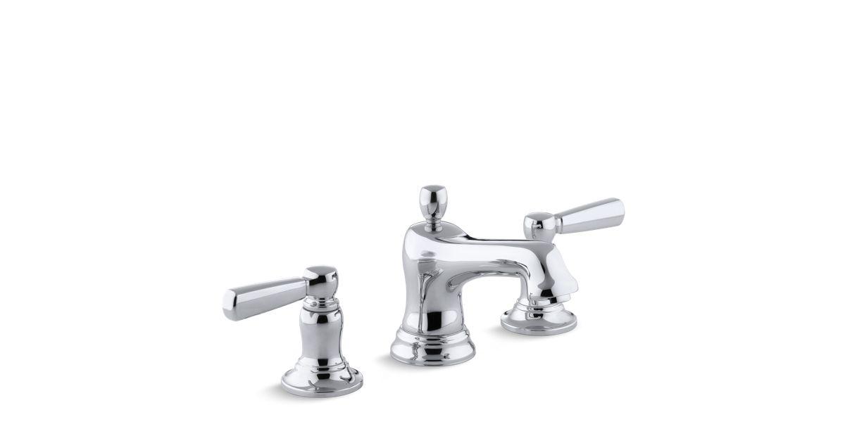 K 10577 4 Bancroft Widespread Sink Faucet Metal Lever Handles
