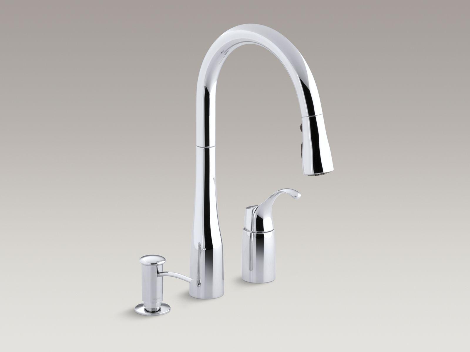 Image of: K R648 Simplice Pull Down Kitchen Sink Faucet W Soap Dispenser Kohler