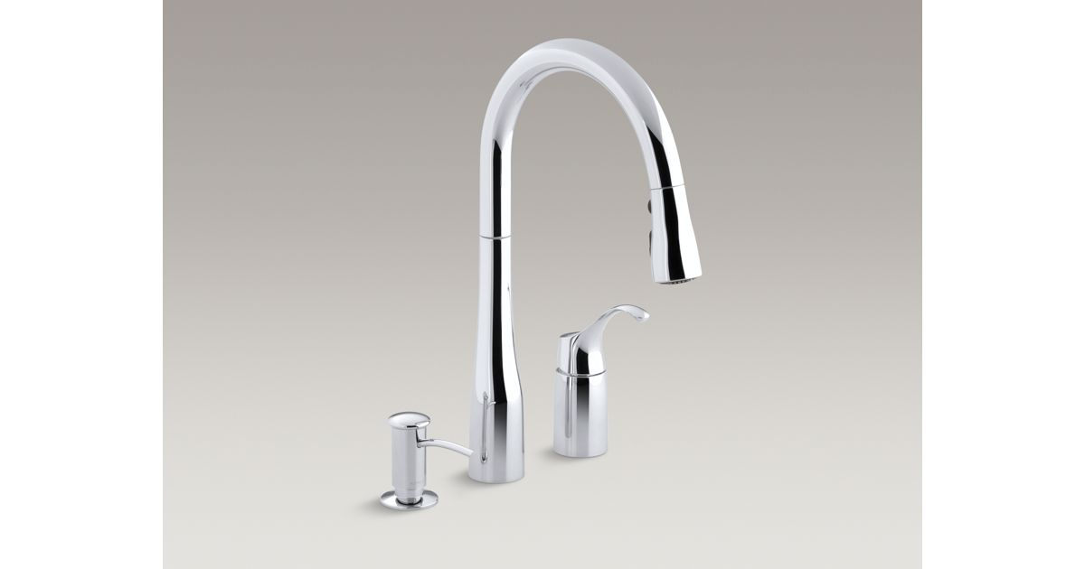 K R648 Simplice Pull Down Kitchen Sink Faucet W Soap Dispenser Kohler