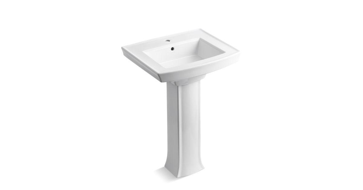 K 2359 1 Archer Pedestal Sink With Single Faucet Hole Kohler