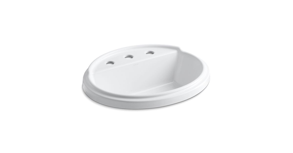 k 2992 8 tresham oval drop in sink with 8 inch widespread kohler. Black Bedroom Furniture Sets. Home Design Ideas