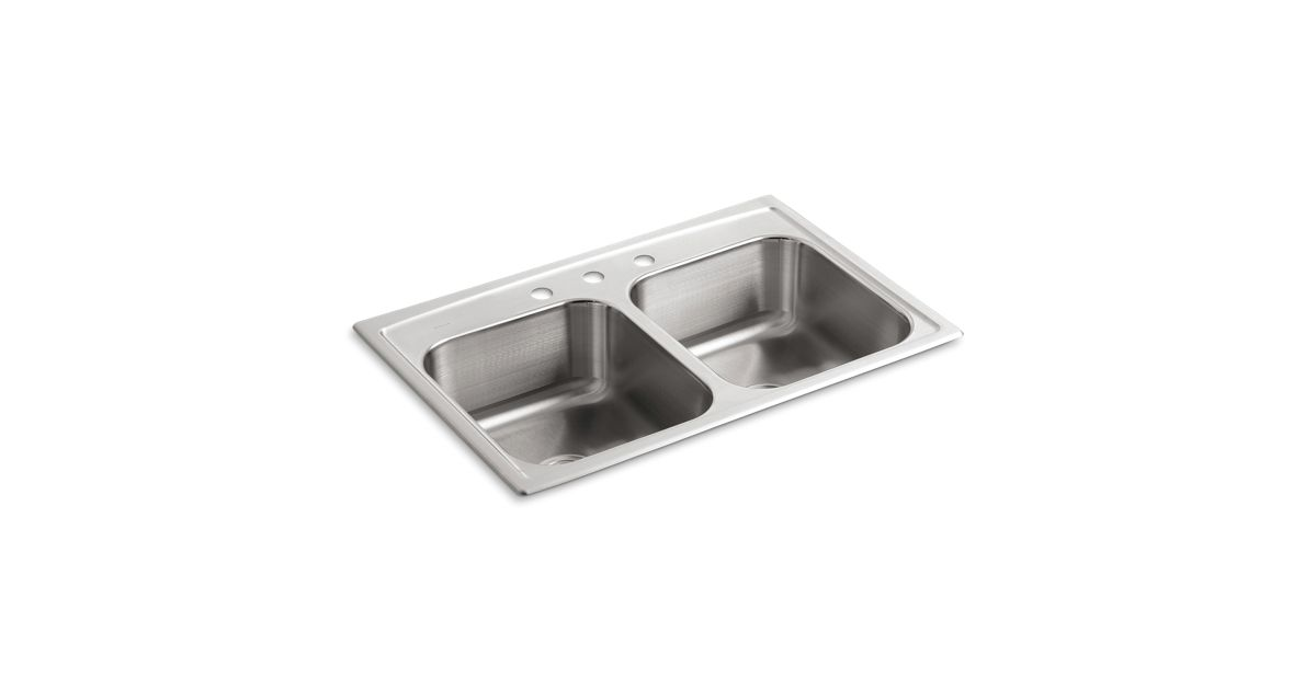 Toccata Top-Mount Kitchen Sink with Three Faucet Holes   K-3346-3 ...