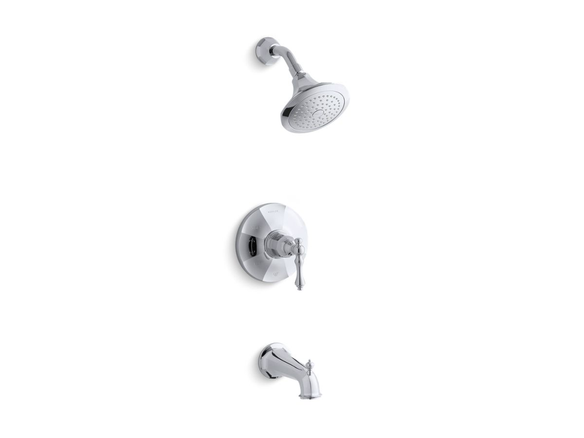 Kelston® Rite-Temp® bath and shower valve trim with lever handle, spout and 2.5 gpm showerhead   Tuggl