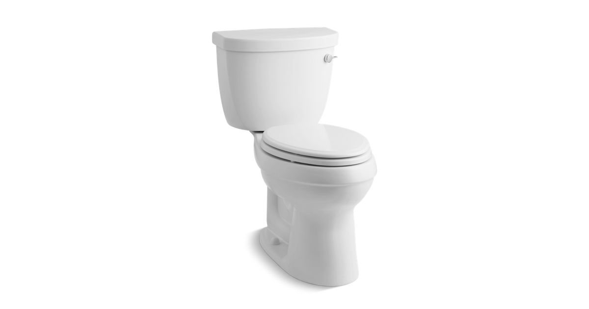K 3589 Tr Cimarron Comfort Height Two Piece Elongated 1 6 Gpf Toilet With Aquapiston Flush Technology Right Hand Trip Lever And Tank Cover Locks