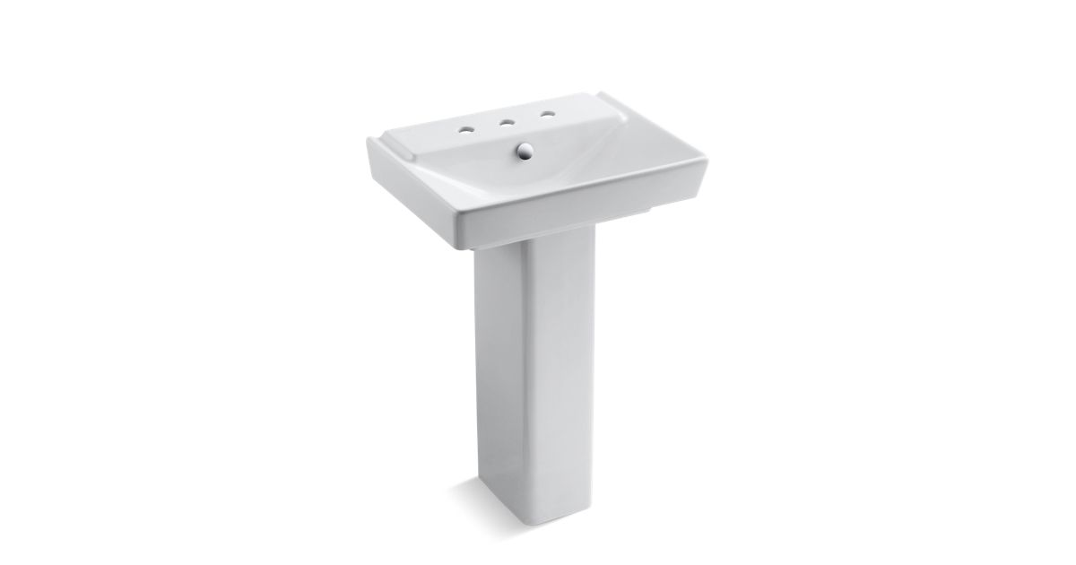 Rêve 23 Pedestal Bathroom Sink With 8 Widespread Faucet Holes