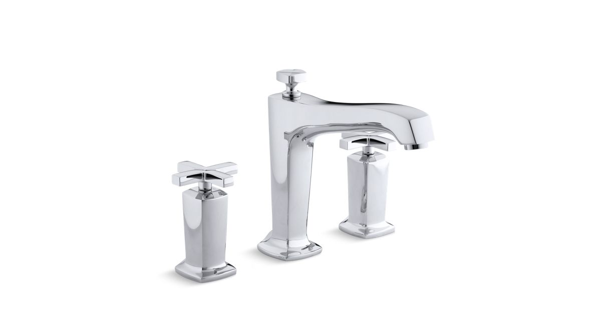 deck mount tub faucet with diverter. Margaux Non Diverter Bath Faucet Trim With Cross Handles  K T16237 3 KOHLER
