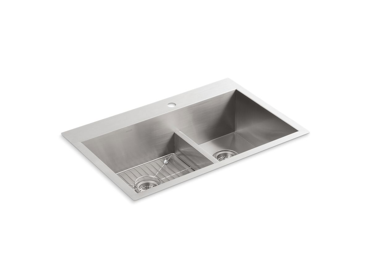 Kohler Stainless Steel Kitchen Sinks k-3839-1 | vault smart divide kitchen sink with single faucet hole