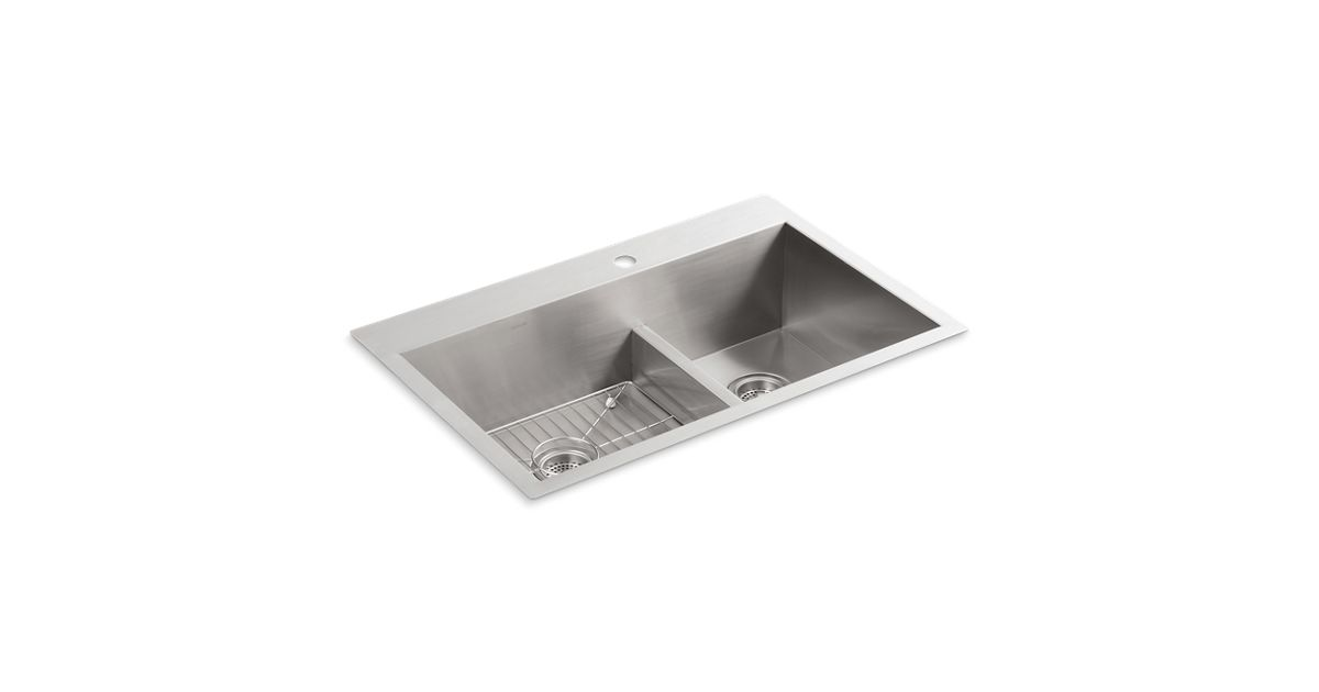 K-3839-1 | Vault Smart Divide Kitchen Sink with Single Faucet Hole ...
