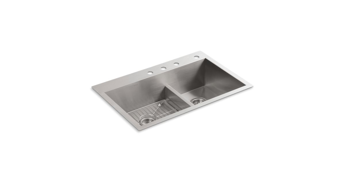 K-3839-4 | Vault Smart Divide Kitchen Sink with Four Faucet Holes | KOHLER
