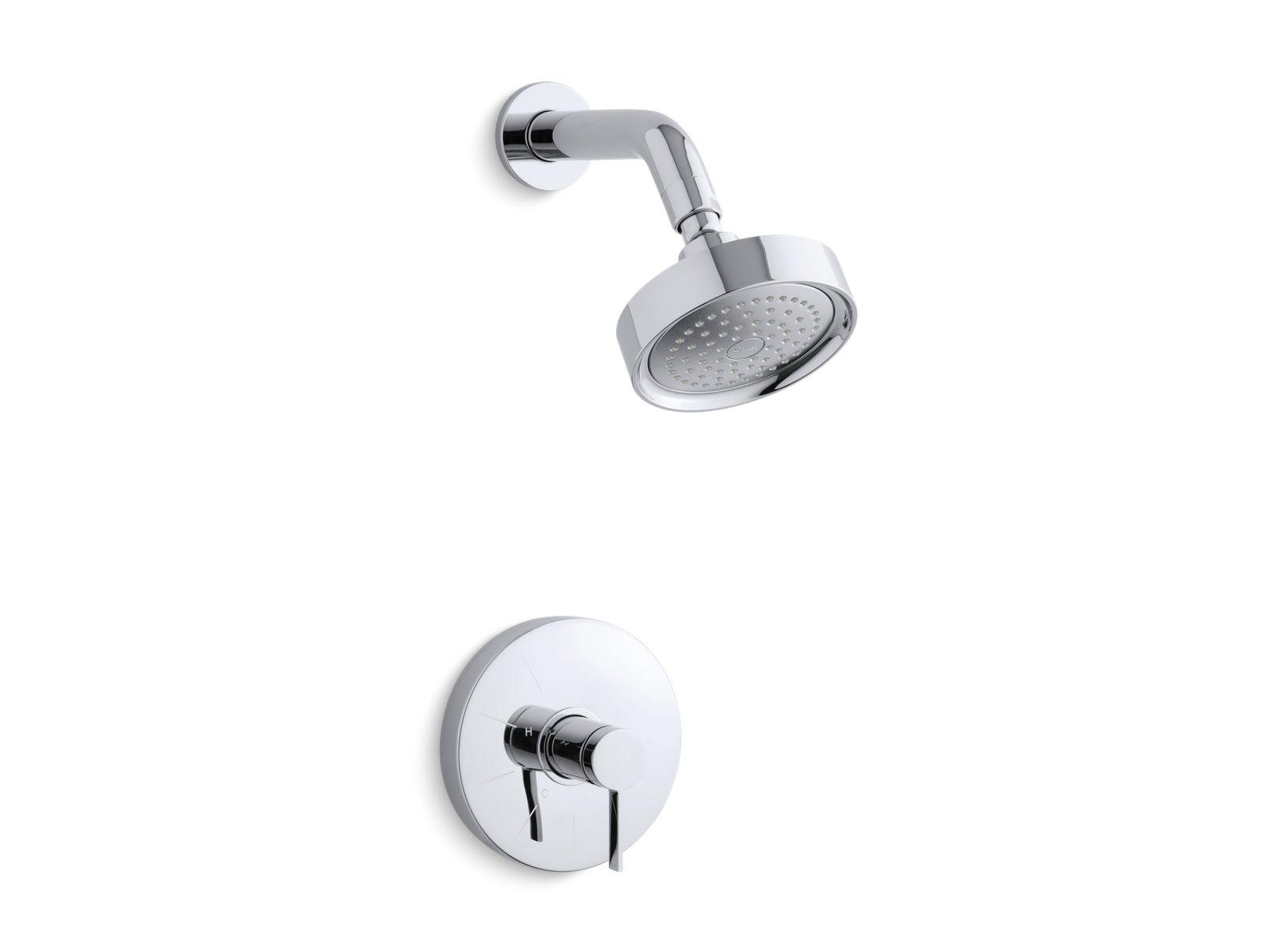 kts9494 stillness ritetemp shower valve trim with lever handle and 25 gpm showerhead kohler