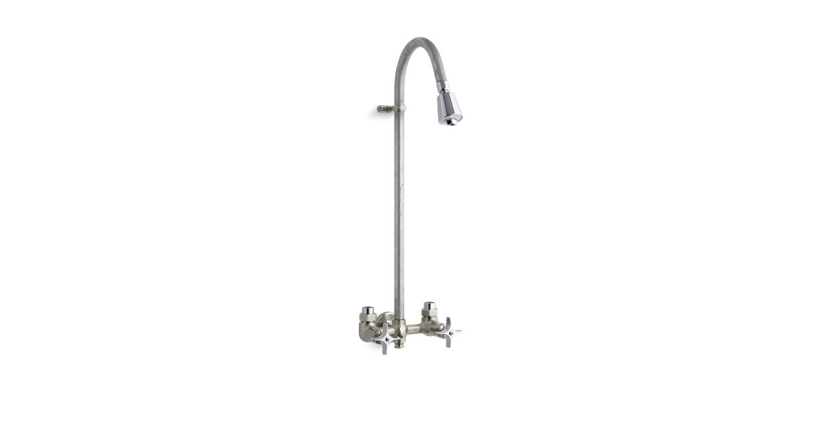 Industrial exposed shower with Rêversible yoke and galvanized riser ...