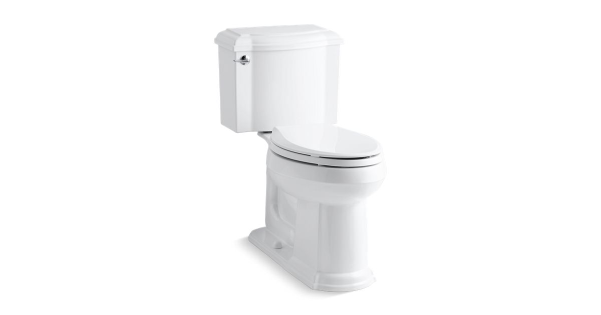 KOHLER|K-3837|Devonshire Two-Piece Elongated 1.28-GPF Toilet | KOHLER