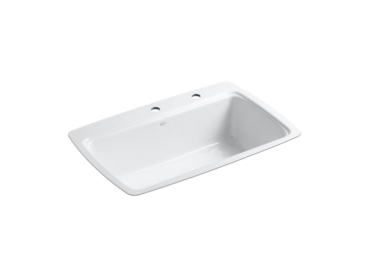 White Single Bowl Kitchen Sink cape dory tile-in kitchen sink with two faucet holes | k-5864-2