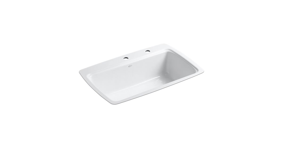 Single Basin Kitchen Sink 33 X 22 Cape dory tile in kitchen sink with two faucet holes k 5864 2 kohler workwithnaturefo