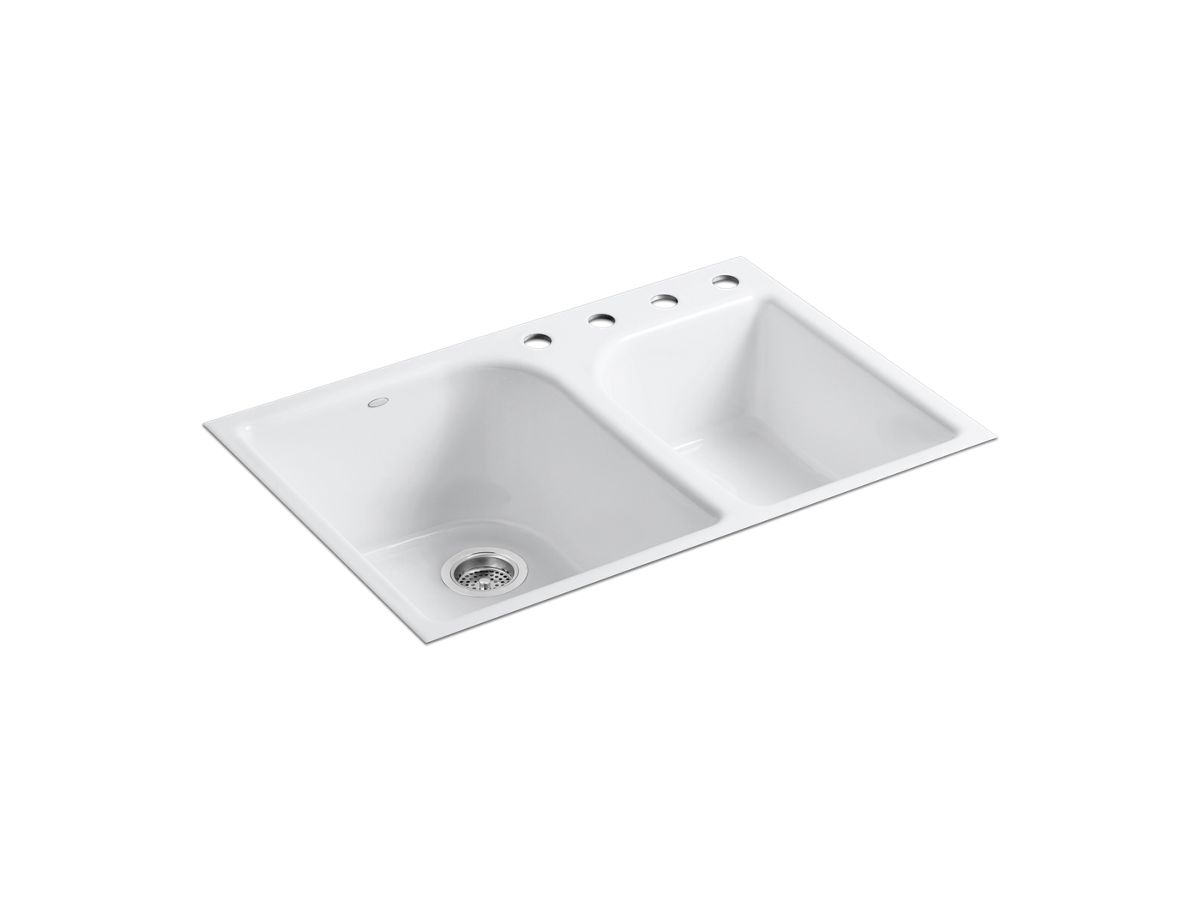 Cast Iron Undermount Kitchen Sinks k-5931-4 | executive chef tile-in kitchen sink w/ four faucet