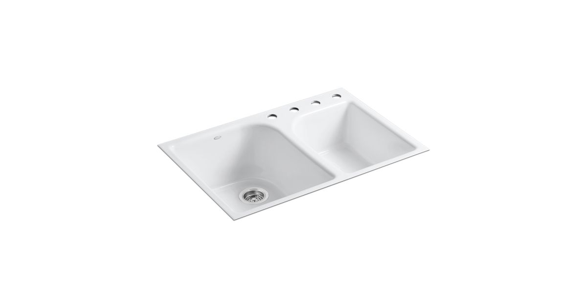 K-5931-4 | Executive Chef Tile-In Kitchen Sink w/ Four Faucet Holes ...