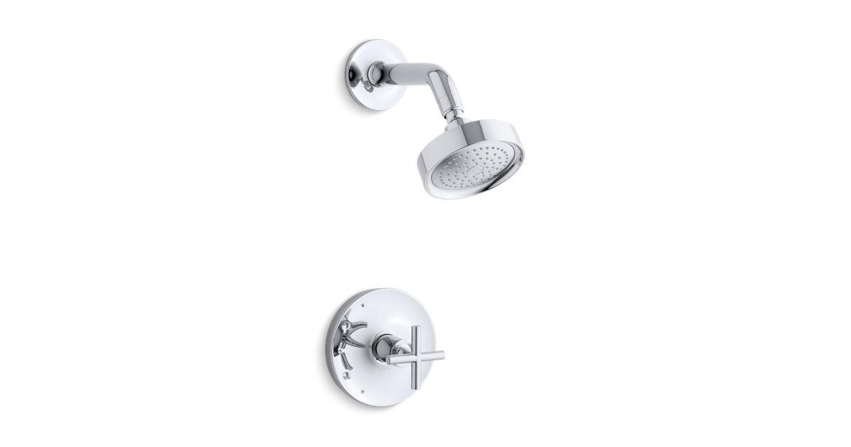 K-TS14422-3 | Purist® Rite-Temp® shower valve trim with cross handle ...