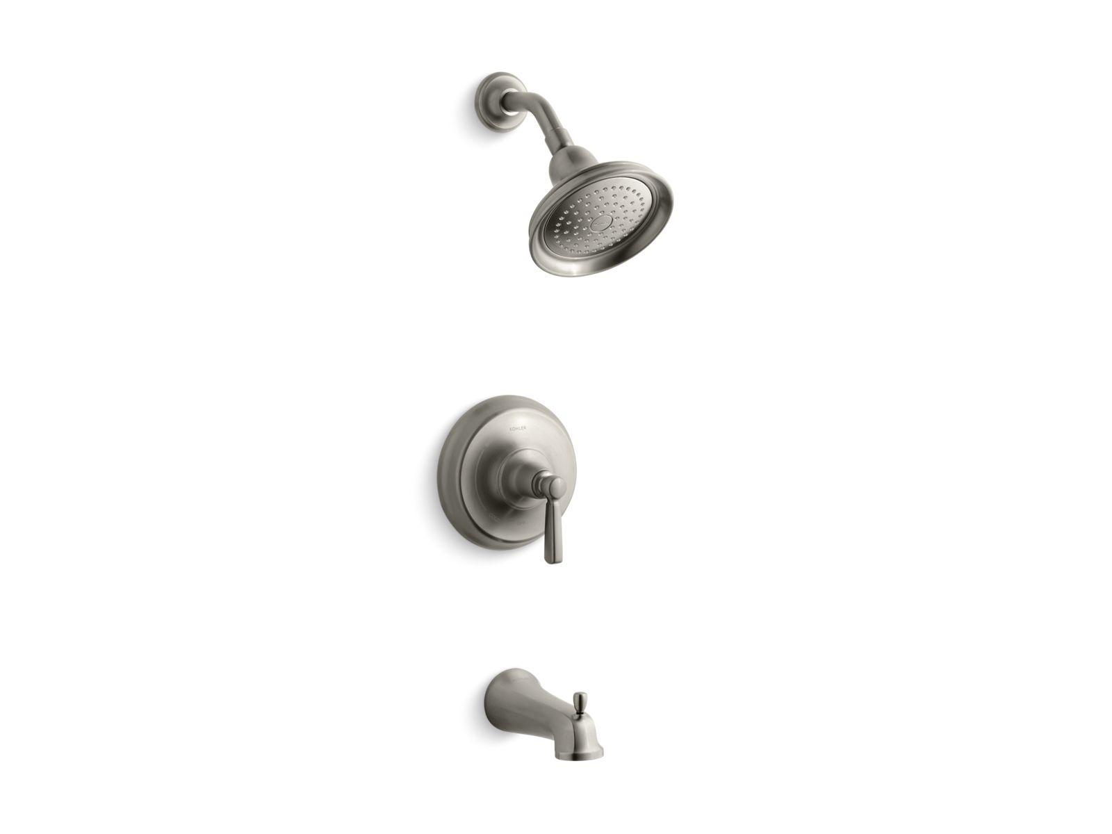 kts105814 bancroft ritetemp bath and shower valve trim with metal lever handle npt spout and 25 gpm showerhead kohler