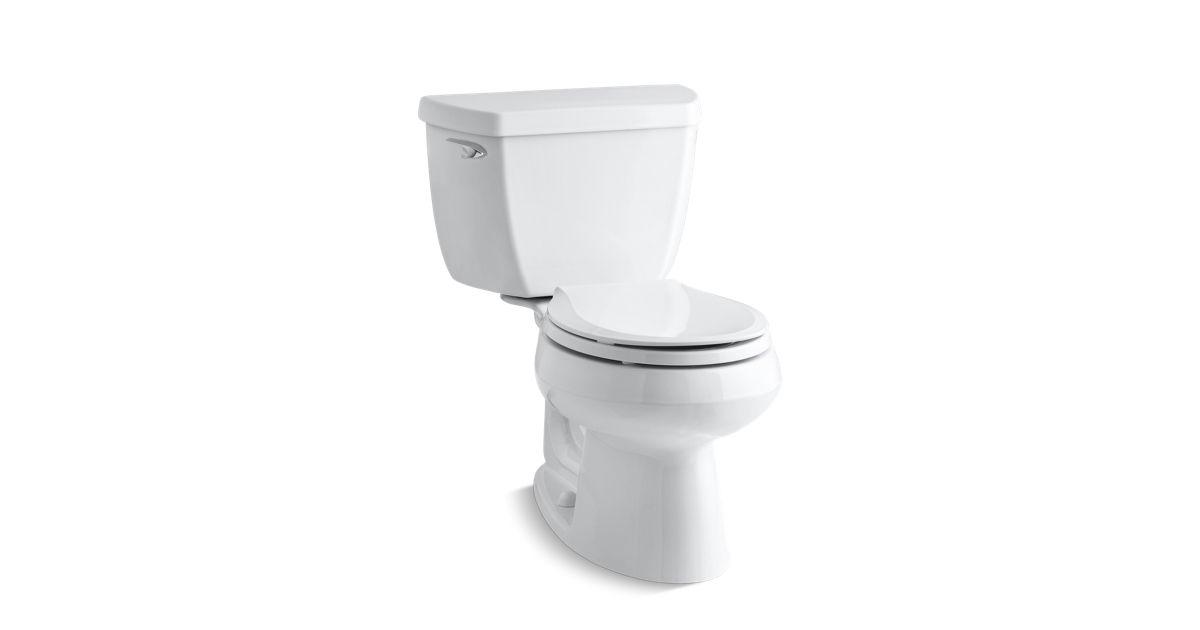 round front toilet dimensions.  KOHLER K 3577 Wellworth Two Piece Round 1 28 GPF Toilet