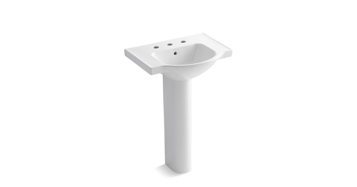 Veer Pedestal Sink With 8-Inch Centers