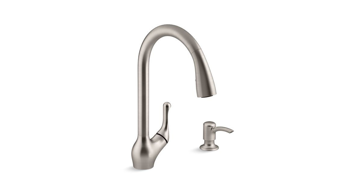 K-R776-SD | Barossa™ pull-down kitchen sink faucet with soap ...