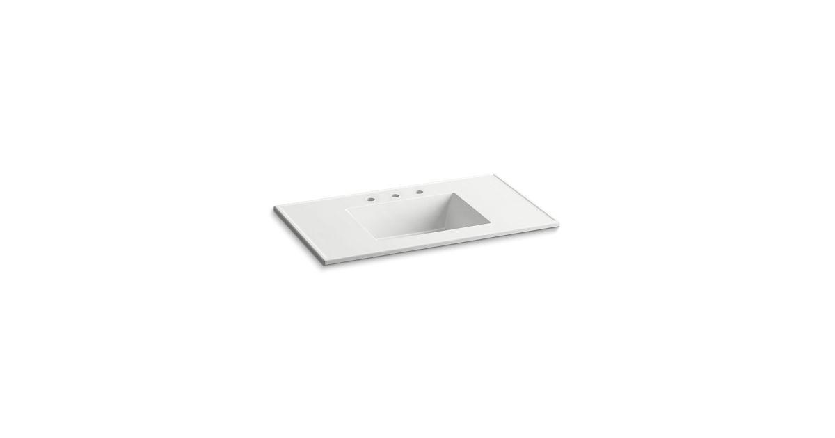 K 2781 8 Ceramic Impressions 37 Inch Rectangular Vanity Top Bathroom Sink With Centerset Faucet Holes Kohler