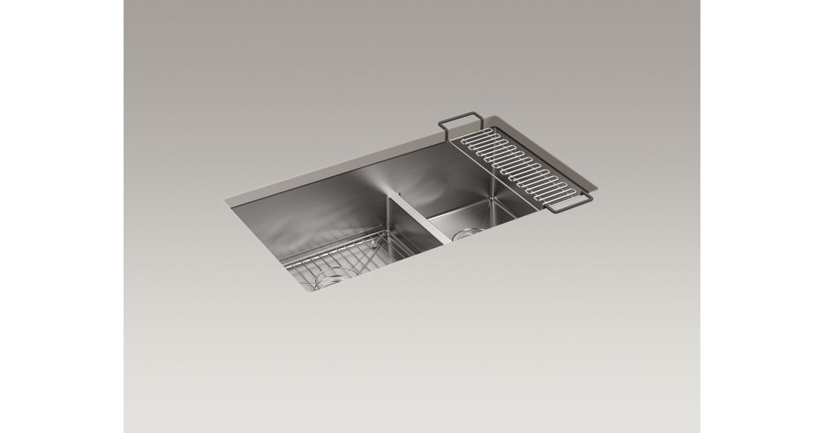 strive 32 x 18 516 x 9 516 smart divide under mount largemedium double bowl kitchen sink with sink rack - Kohler Kitchen Sinks