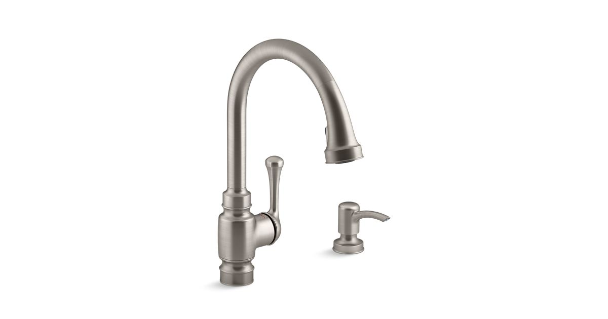 Carmichael Pull-Down Kitchen Faucet with Dispenser   K-R72512-SD ...