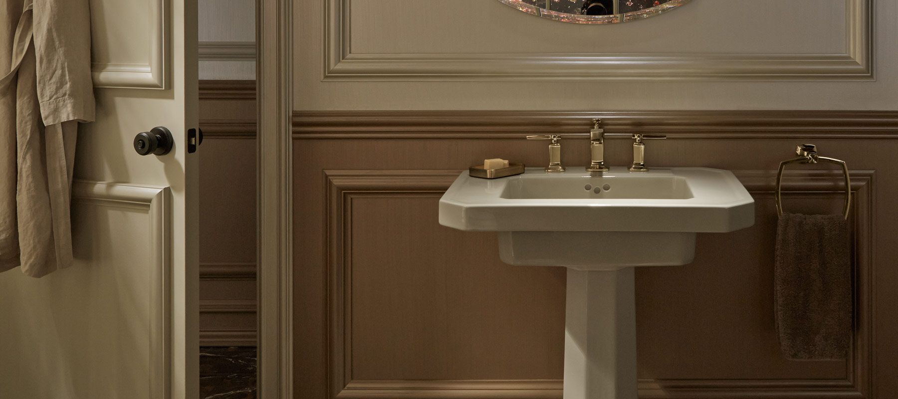Small wall mounted bathroom sinks - Gleaming Gold Details