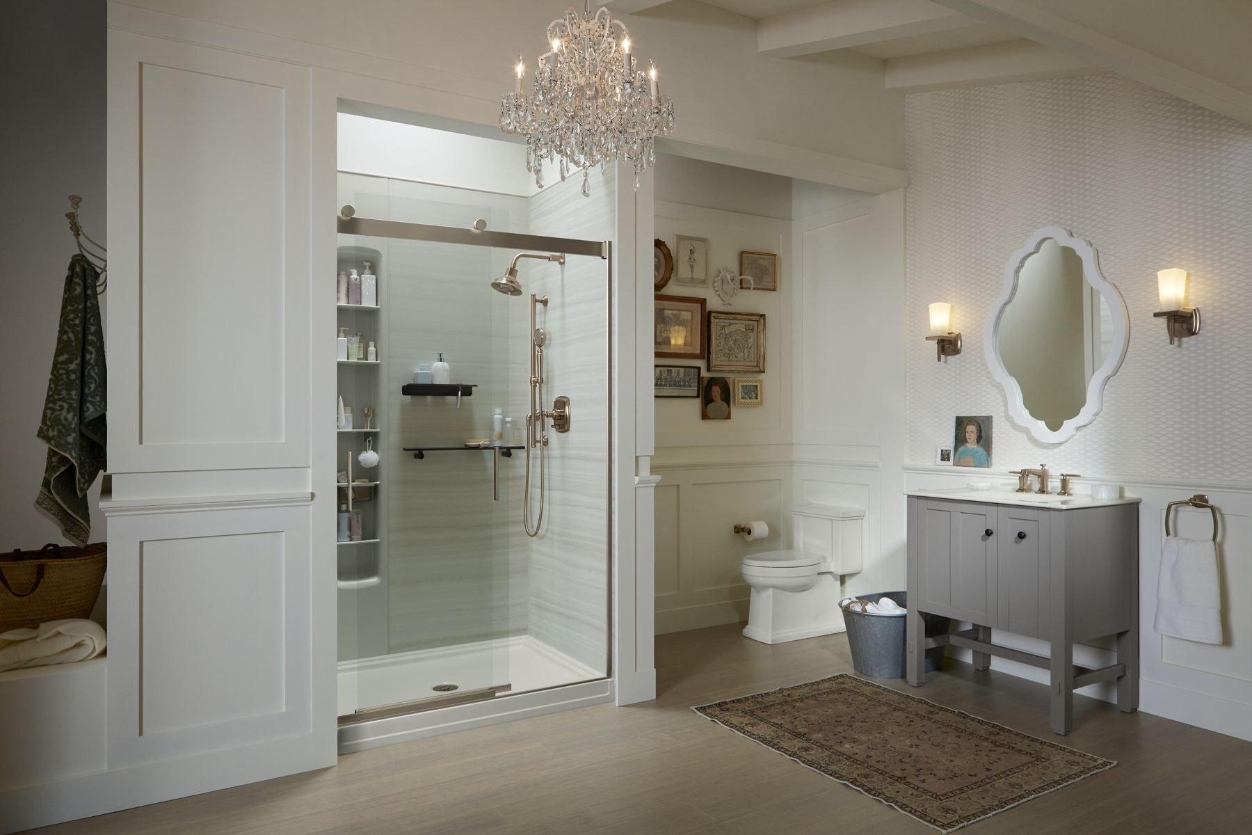 Levity® Sliding Shower Doors. Crystal Clear Glass Panels ...