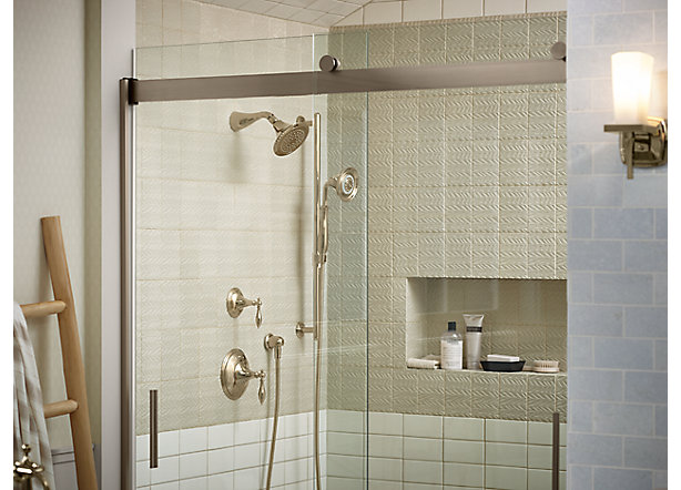 Shower door guide bathroom kohler for Solid glass shower doors