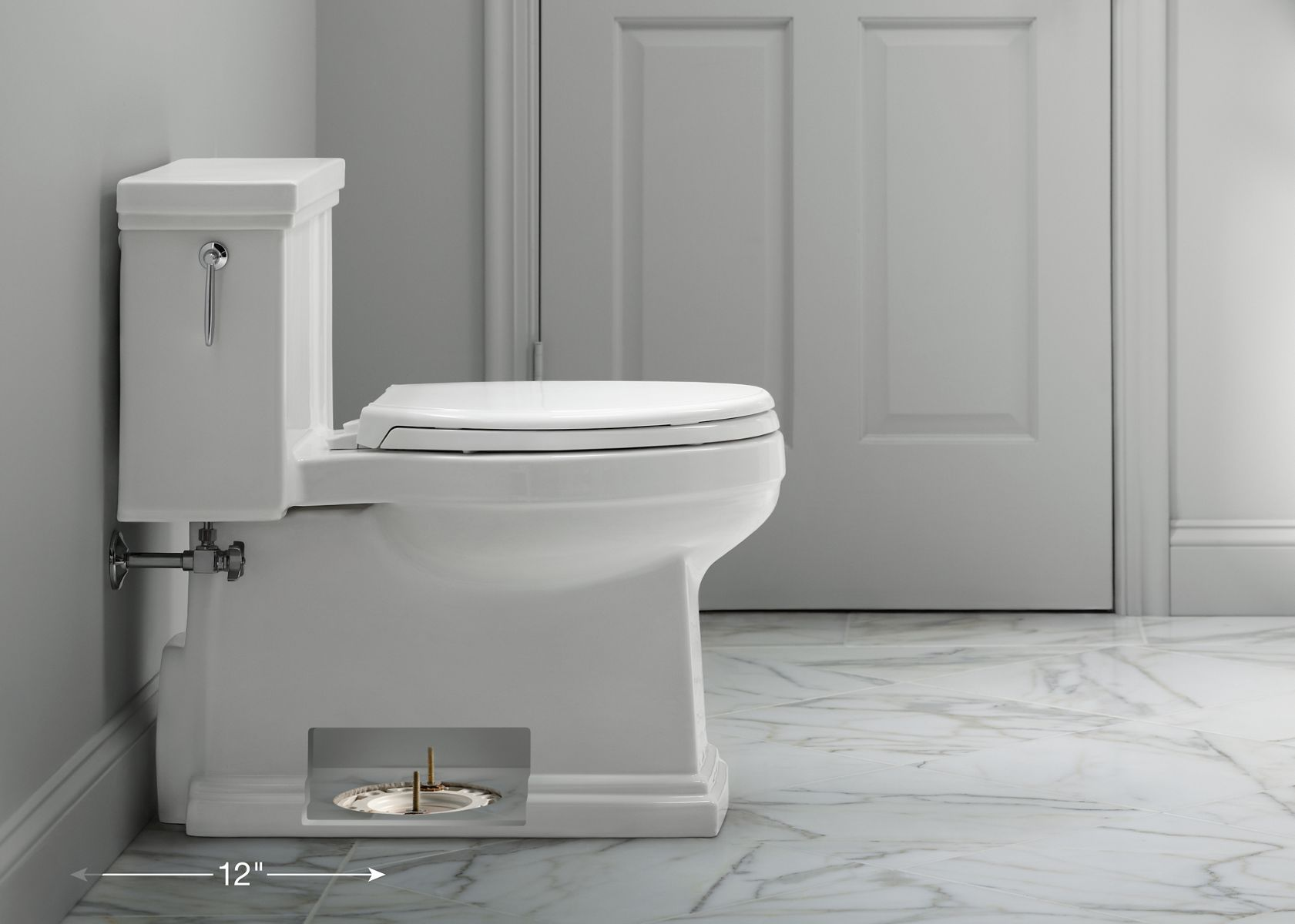 to ensure your new floormount toilet fits your space measure from the wall not the baseboard to the floor bolts that attach the toilet to the floor