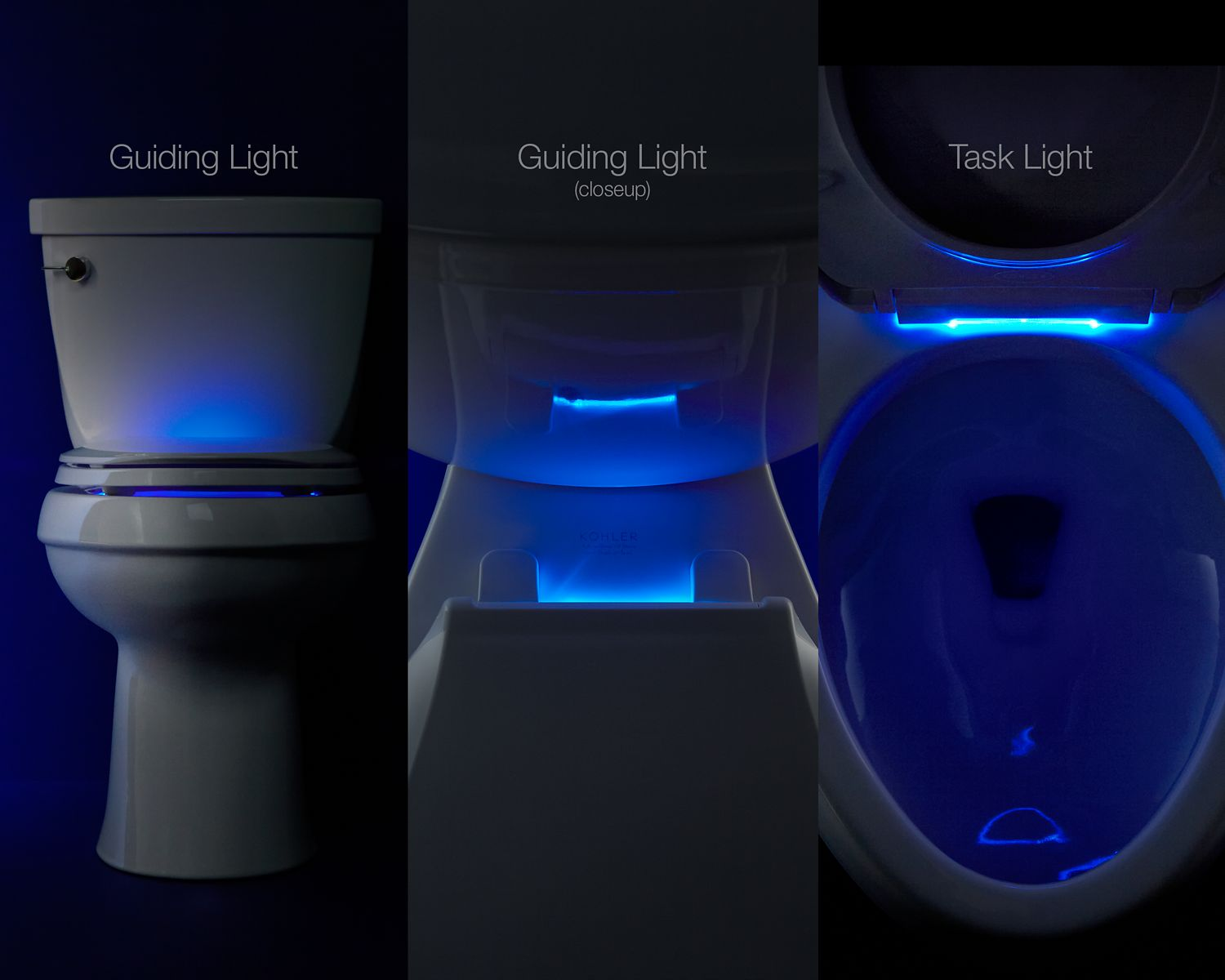 Nightlight  Lighted Toilet Seats By Kohler KOHLER - Blue soft close toilet seat