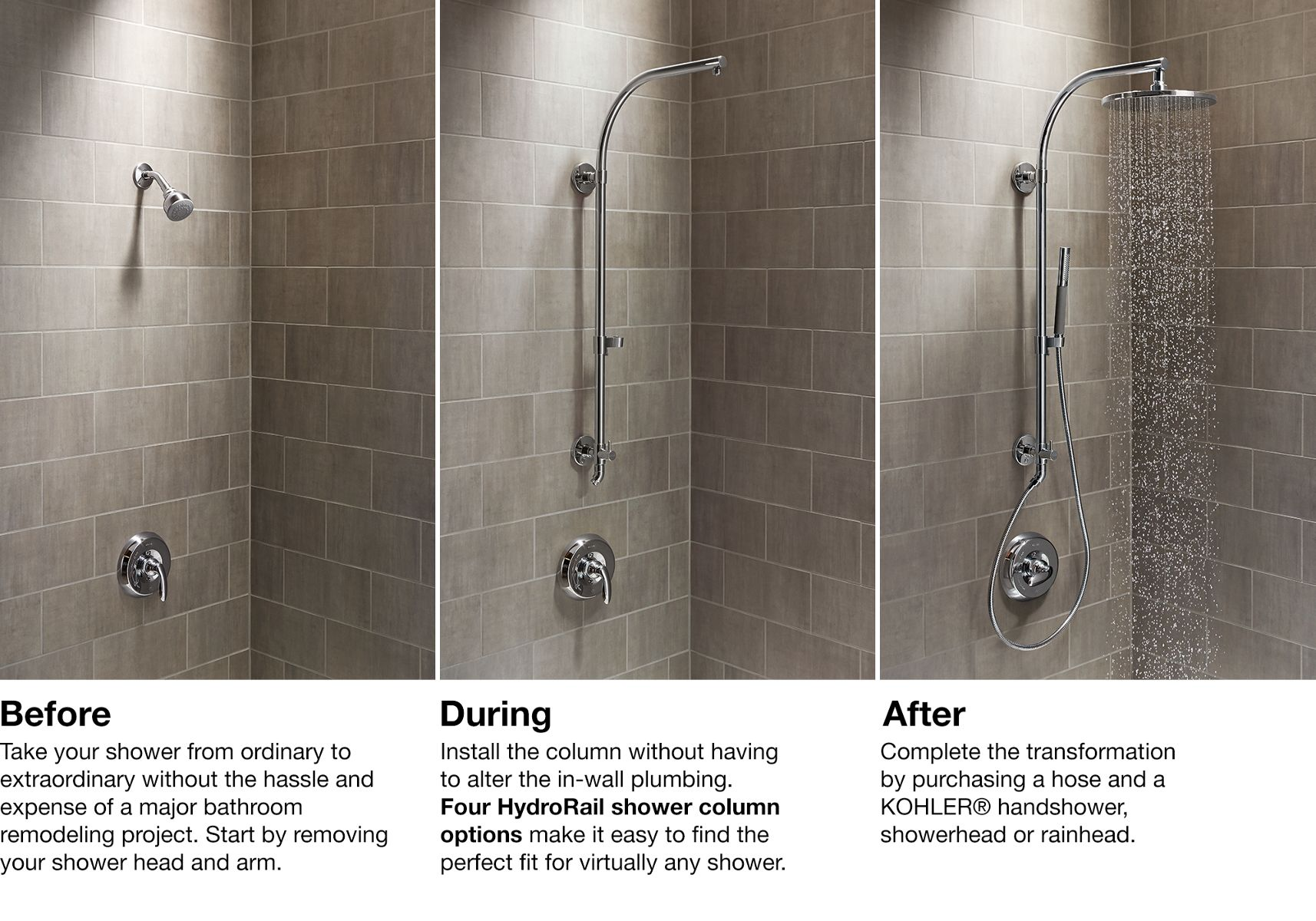 HydroRail® Shower Columns | Bathroom | KOHLER