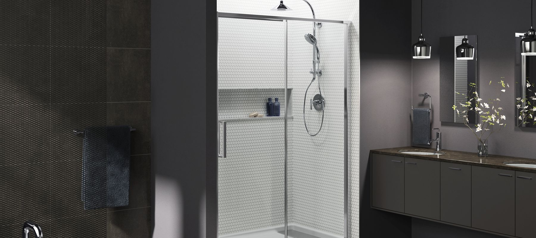 White Bathroom Door shower doors | showering |bathroom | kohler