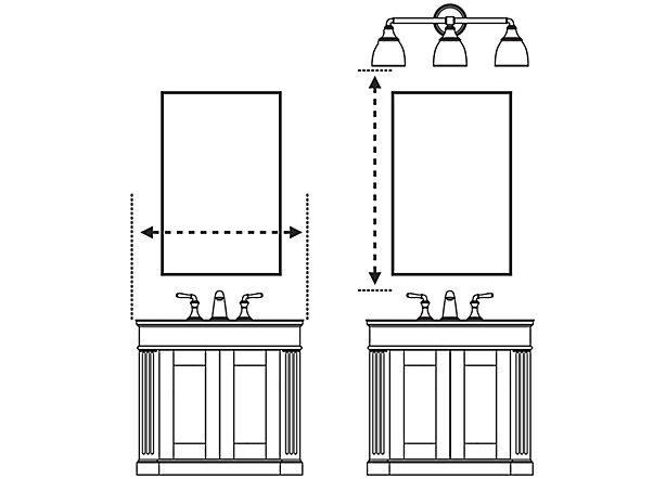 Medicine cabinets mirrors guide bathroom kohler - Standard bathroom mirror dimensions ...