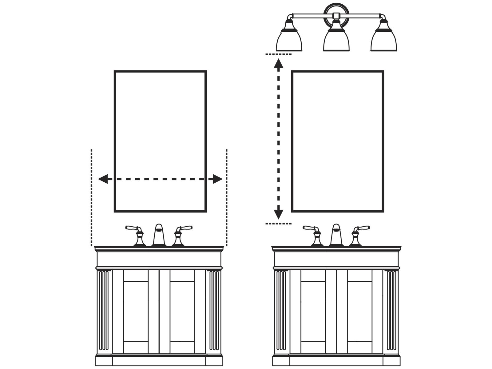 Bathroom Vanity Light Height New Install : Medicine Cabinets & Mirrors Guide Bathroom KOHLER