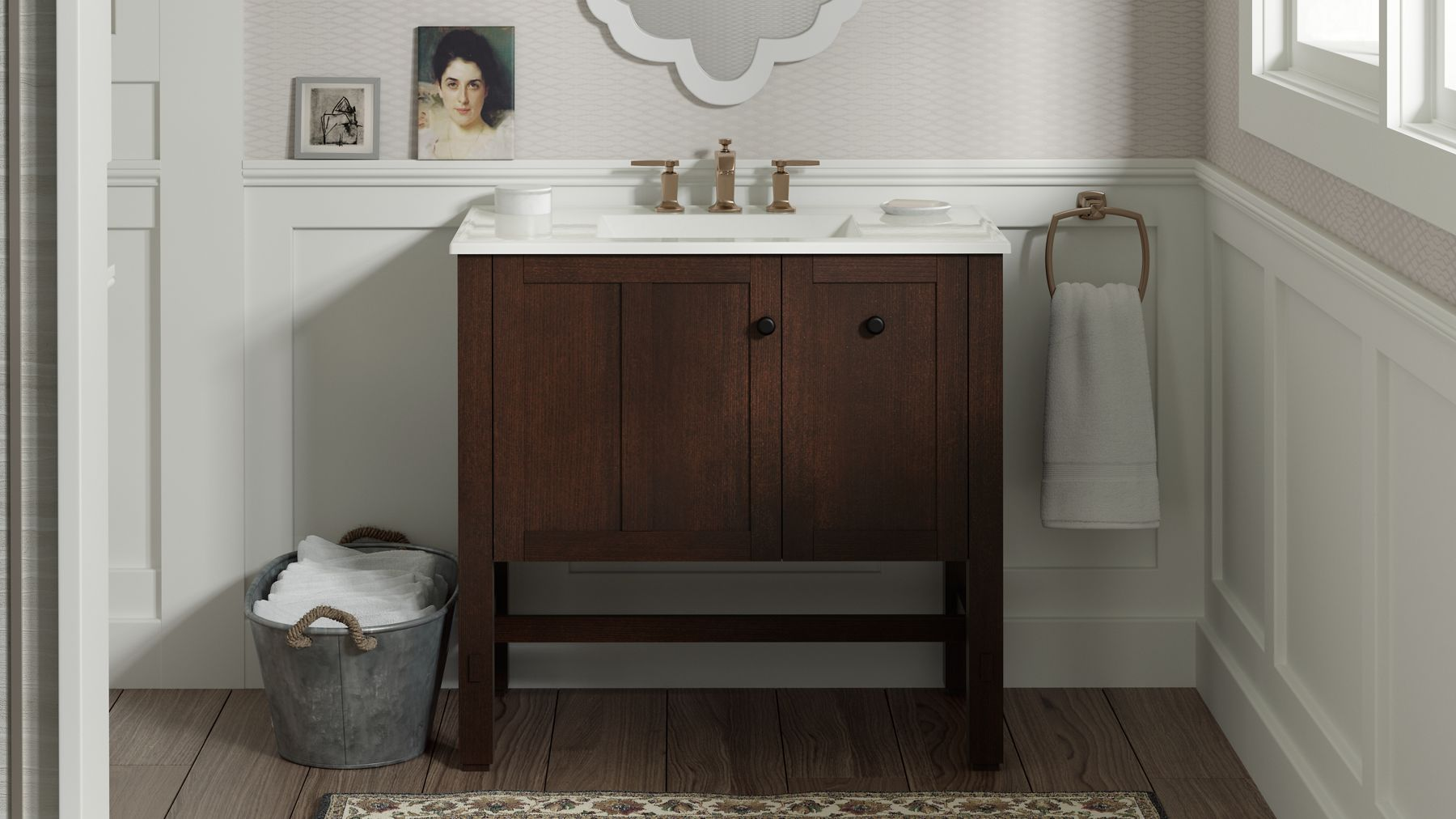 Discover your style: Explore 6 designer bathrooms | KOHLER on bathroom design with storage, brushed gold bath fixtures, bathroom faucet, bathroom granite countertop colors, bathroom suite layout, bathroom design with granite, bronze bath fixtures, bronze shower fixtures, rubbed bronze bathroom fixtures, bathroom towel and toilet paper holders, dark bronze bathroom fixtures, bathroom design ideas, bathroom paint color ideas,